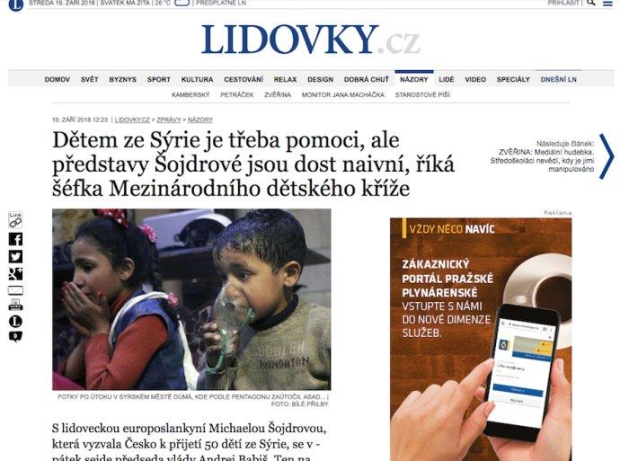 Titulek staženého článku serveru Lidovky.cz, Zdroj: Deník N