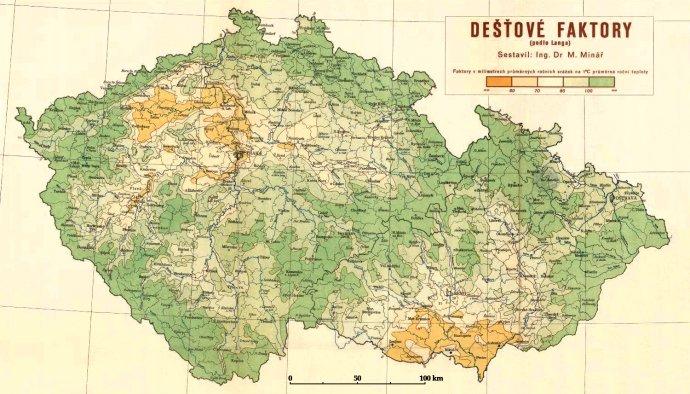 Hodnocení suchých oblastí v roce 1948 podle dostupnosti vláhy v půdě pro rostliny, FOTO: BRÁZDIL A KOL. 2015, SUCHO V ČESKÝCH ZEMÍCH