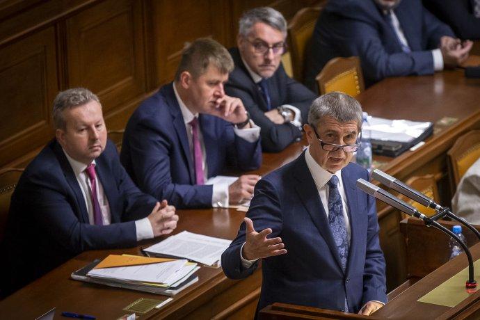 Premiér Andrej Babiš ve Sněmovně. Foto: Gabriel Kuchta, Deník N