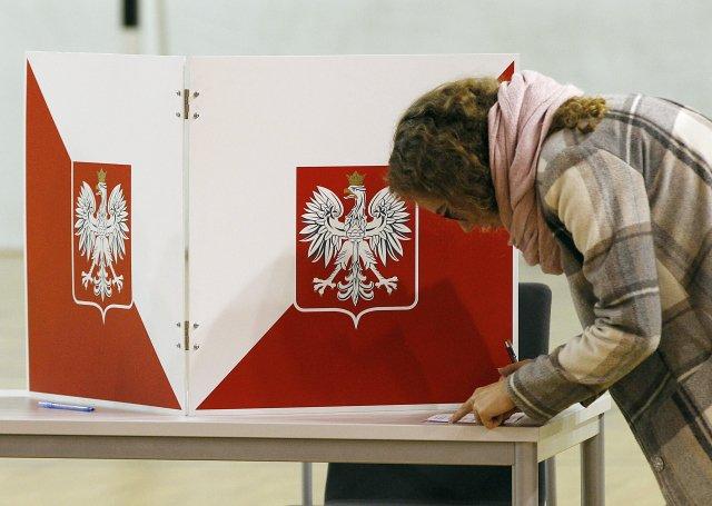 Volička u voleb do Evropského parlamentu. Foto: Czarek Sokolowski, AP / ČTK