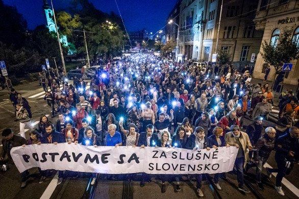 Jedna ze série demonstrací Za slušné Slovensko v roce 2018. Foto: Tomáš Benedikovič, Denník N
