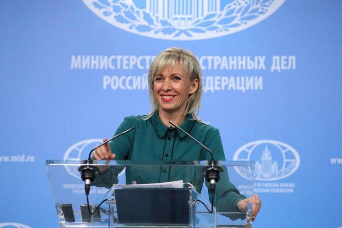 Mluvčí Ruské diplomacie Marija Zacharovová na středeční tiskové konferenci. Foto: www.mid.ru
