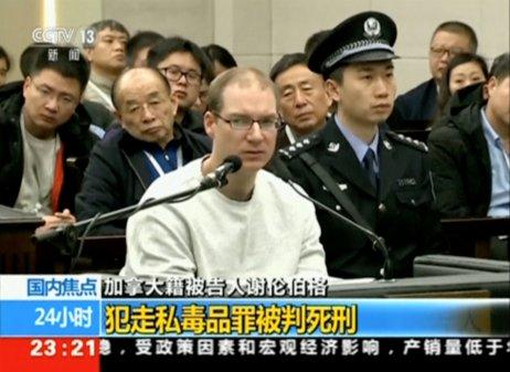 Robert Lloyd Schellenberg u soudu vTa-lienu (14. ledna 2019, záběr zvysílání čínské státní televize). Foto: CCTV via Reuters