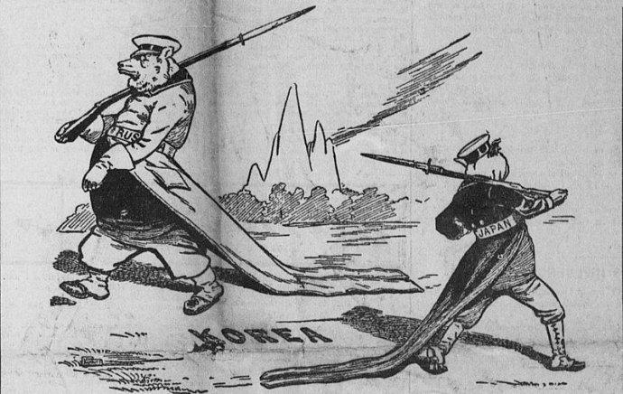 Dobová karikatura zledna 1904 zobrazuje ruského a japonského vojáka, kteří kolem sebe krouží na Korejském poloostrově. Kresba: Leon Barrit