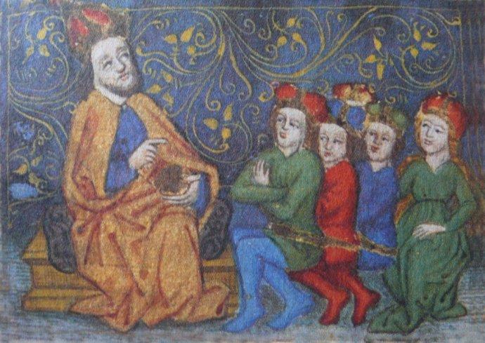 Karel IV. poučuje své nástupce. Iluminace zvlastního životopisu Vita Caroli. Zdroj: Wikimedia Commons
