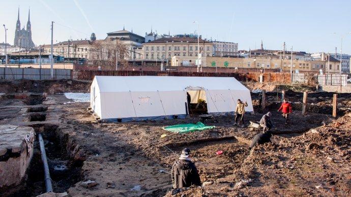 Archeologický průzkum na místě někdejší Velké synagogy v Brně. Foto: Karolína Poláčková