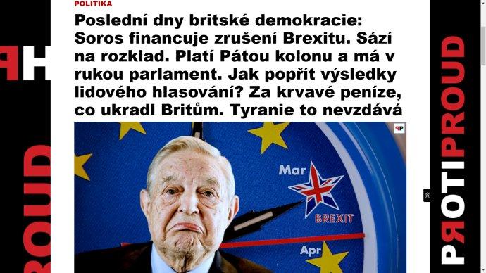 Jeden z aktuálních článků na konspiračním webu protiproud.cz. Reprodukce: Deník N