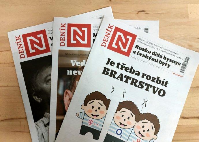 Koláž titulních stran Deníku N. Foto: Deník N
