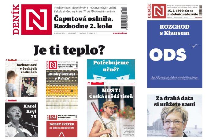 Koláž titulních stran Deníku N.