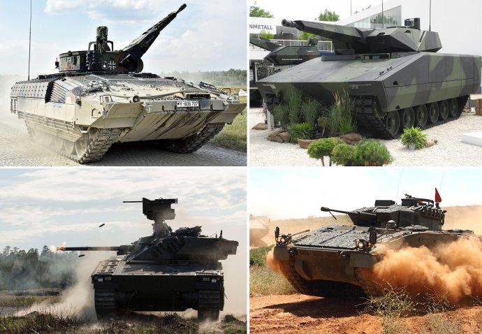 Zájem dodat Česku nové pásové obrněnce projevilo konsorcium PSM (vozidlo Puma, vlevo nahoře), Rheinmetall (Lynx, vpravo nahoře), BAE Systems (CV90, vlevo dole) a GDELS (ASCOD, vpravo dole). Koláž je složená ze snímků AČR, BAE Systems, GDELS a Wikimedia Commons