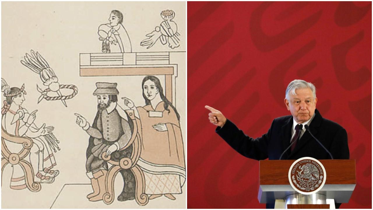 Příchod Hernána Cortése (vlevo uprostřed) do Tenochtitlánu 8. listopadu 1519 (v křesle vlevo sedí vládce Moctezuma II.) A současný mexický prezident AMLO, který žádá za Cortése a jeho následovníky omluvu. Obraz neznámého autora z r. 1550 a foto Rebeccy Blackwellové, AP/ČTK