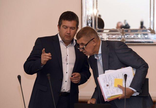 Tak těmhle to vkoalici docela šlape. První místopředseda vlády aministr vnitra Jan Hamáček (ČSSD) apremiér Andrej Babiš. Foto:ČTK