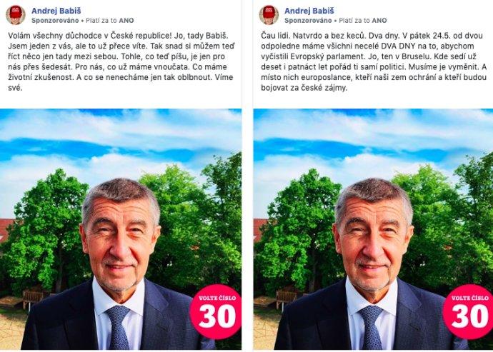 Dvě verze statusu Andreje Babiše. Zdroj: FB ads