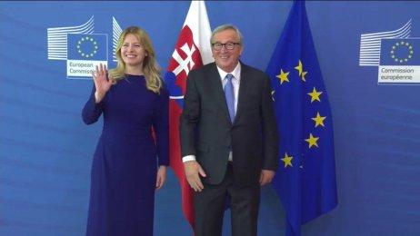 Slovenská prezidentka Zuzana Čaputová poprvé v Bruselu na setkání s předsedou EK J.-C. Junckerem. Foto: European Union/EBU