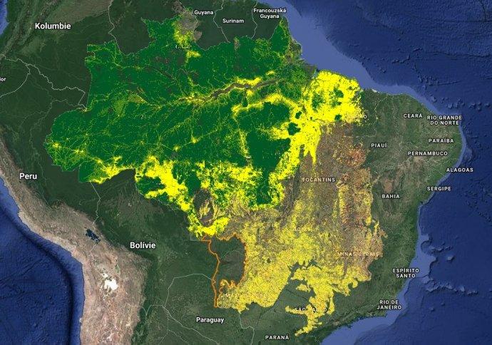 Míra odlesňování podle projektu TerraBrasilis brazilského Národního institutu pro kosmický výzkum INPE. Mapa: terrabrasilis.dpi.inpe.br