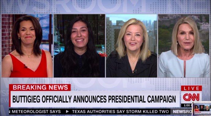 Ve Spojených státech běžné, vČesku zatím stále nemyslitelné. Ženy jsou ve veřejných diskuzích zastoupeny viditelně avýrazně. Někdy se dokonce stane, že vodborných expertních pořadech diskutují pouze ženy, čímž se vyrovnává skutečnost, že jindy zase diskutují pouze muži. Reprofoto:CNN