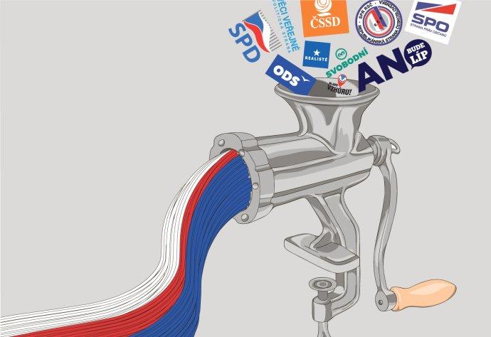 Do Trikolóry míří exposlanci a bývalí politici z celé řady politických stran. Ilustrace: Deník N, Adobe Stock