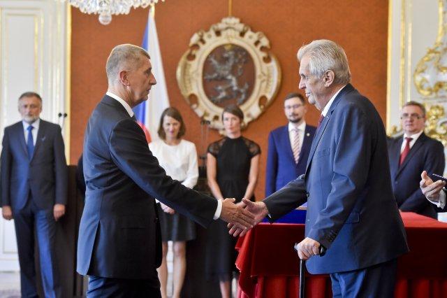 Prezident Miloš Zeman při jmenování Andreje Babiše podruhé předsedou vlády. Foto: ČTK
