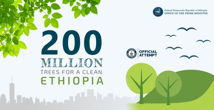 """""""200miliónů stromů pro čistou Etiopii."""" Heslo na promo plakátu etiopské vlády kakci Green legacy (Zelené dědictví), při níž plánovala 29.7. 2019celostátně vysázet 200milionů sazenic. Nakonec asi čtvrtina stomilionového národa vysadila během jediného dne údajně přes 353milionů stromů, což je nový světový rekord. Zdroj: Úřad etiopského premiéra, pmo.gov.et/greenlegacy/"""