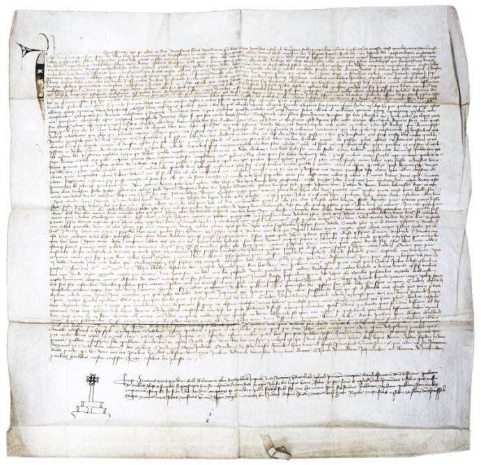 Notářský instrument Martina Havlova z Trnavy, ze dne 2. prosince 1406 vydražila letos v červnu Národní knihovna za více než 18 milionů korun. Vzácnou starožitnost ale vzápětí zajistila policie. Foto: aukční síň 1. Art Consulting Brno CZ