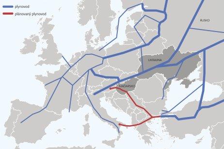 Rusko je největším dodavatelem plynu do zemí EU asnaží se svůj podíl na evropském trhu stále zvyšovat, mj.výstavbou nových plynovodů. Mapa: DeníkN