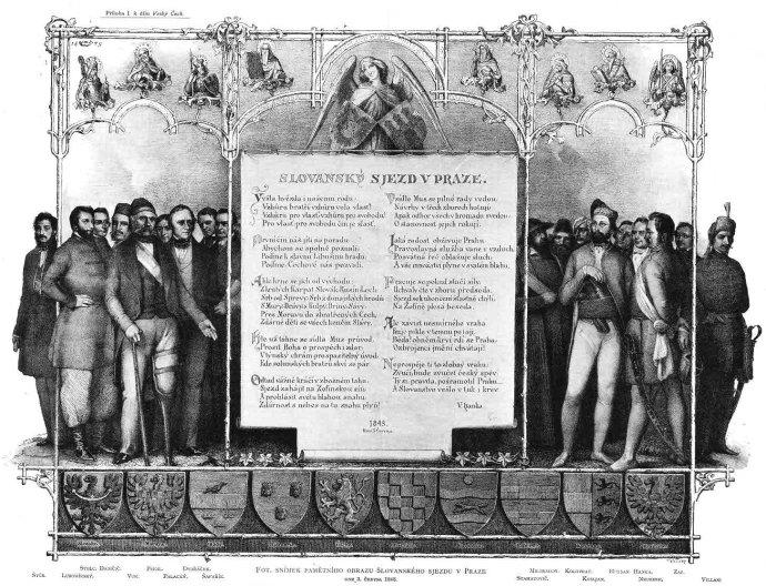 Pamětní list účastníků Slovanský sjezd 1848 v Praze na Žofíně mezi nimiž byli například F. L. Rieger, F. Palacký či P. J. Šafařík.