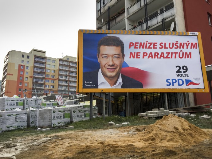 Billboard SPD před sněmovními volbami vříjnu 2017. Foto:Vít Šimánek, ČTK