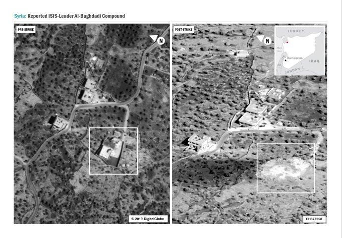 Letecká fotografie zmísta zásahu proti lídrovi tzv.Islámského státu Bagdádímu usyrského Idlibu. Srovnání před útokem apo útoku. Foto: Ministerstvo obranyUSA
