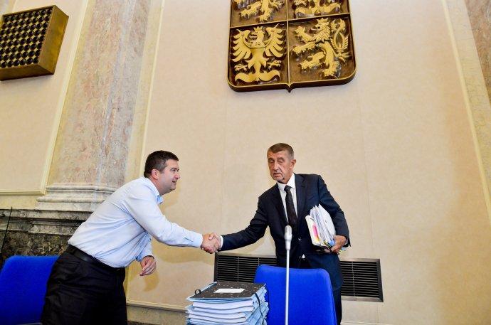 Místopředseda vlády aministr vnitra Jan Hamáček apremiér Andrej Babiš. Foto:ČTK