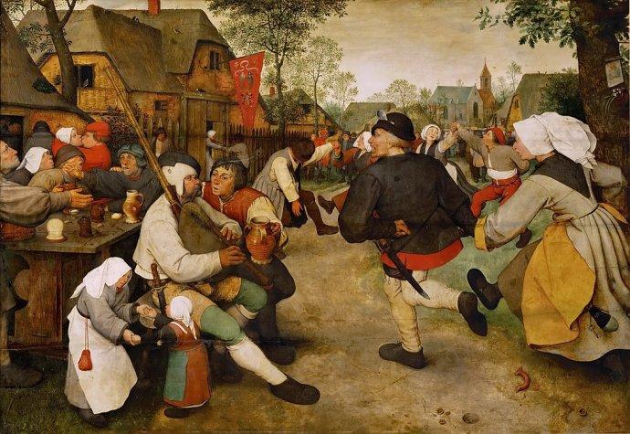 Nizozemci jsou gezellig už od nepaměti. Pieter Bruegel, Selský tanec, 1568