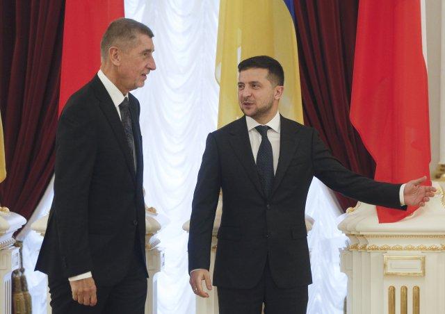 Premiér Andrej Babiš sukrajinským prezidentem Volodymyrem Zelenským (19.listopadu 2019). Foto: Efrem Lukatsky, AP/ ČTK