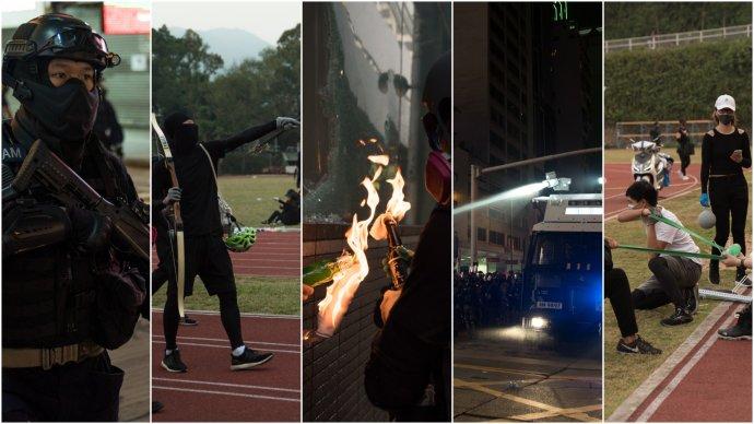 Zbraně v Hongkongu. Foto: Kristýna Macháčková aReuters, koláž DeníkN