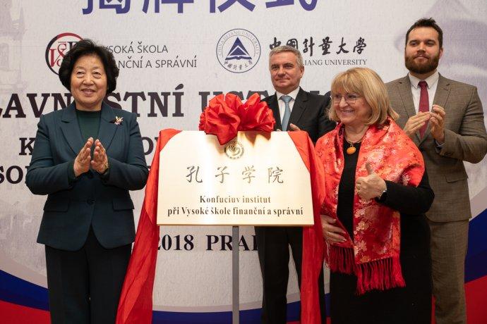 Příprava otevření Konfuciova institutu na VŠFS. Foto: vsfs.cz