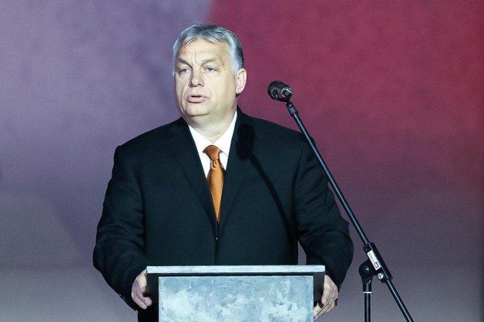 Maďarský premiér Viktor Orbán vpražském Národním muzeu. Foto:Gabriel Kuchta, DeníkN