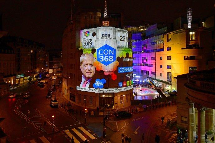 368křesel pro konzervativce. První projekce drtivého vítězství strany premiéra Johnsona vpředčasných parlamentních volbách. Exit polls pro BBC, Sky News aITV na obrazovce na Broadcasting house vnočním Londýně. Foto:Jeff Overs / BBC / Reuters