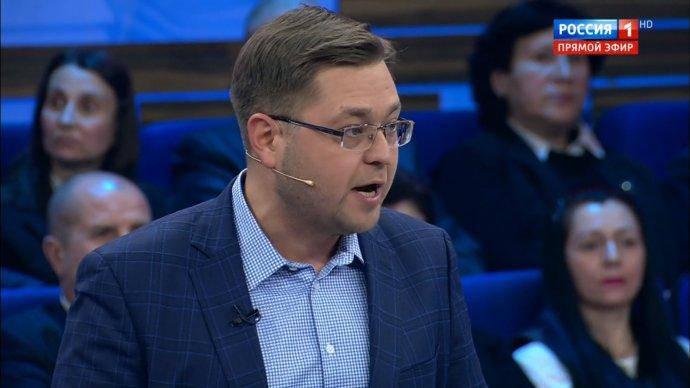 Politolog Andrej Nikulin v pořadu 60 minut. Foto: repo Russia.tv