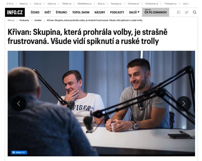 Jednatel Info.cz Tomáš Jirsa (vpravo) vpodcastu sšéfredaktorem Michalem Půrem. Foto: repro Info.cz