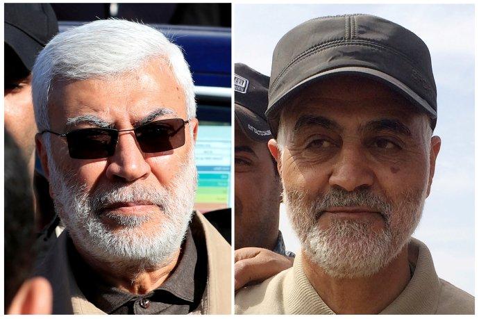 Velitel íránských elitních jednotek Kuds Kásem Solejmání (vpravo) a zástupce velitele iráckých Lidových mobilizačních sil Abú Mahdí Muhandis. Foto: Reuters