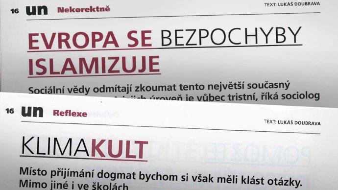 Nadpisy kontroverzních textů vUčitelských novinách. Grafika: DeníkN