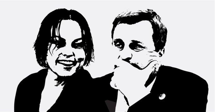 Spolupracovnice podnikatele obviněného v kauze Kuciakovy vraždy Alena Zsuzsová a předseda slovenského parlamentu ze SNS Andrej Danko. Grafika: slovenský Denník N