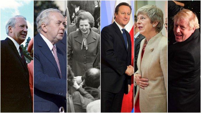 Za 47let členství země vEU vládlo Británii 10premiérů. Šest znich je zde: Británie vstoupila za E. Heatha, schvalující referendum uskutečnila za H. Wilsona, nejvýrazněji anejdéle se do evropských dějin zapsala M. Thatcherová, nové referendum vypsal D. Cameron, jednání obrexitu vedla anakonec nezvládla T. Mayová abrexit dokončí B. Johnson. Koláž: DeníkN