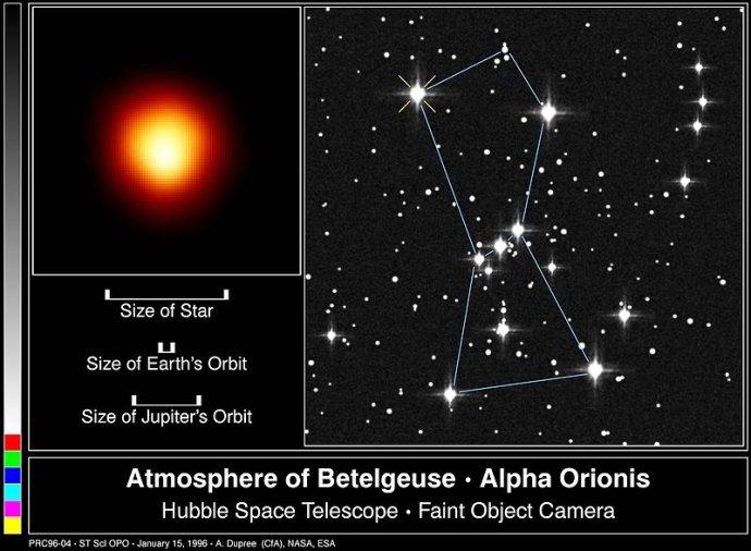 Betelgeuze ajejí poloha vsouhvězdí Orionu. Tento snímek ovšem nepochází zESA, ale zHubbleova vesmírného teleskopu. Foto:NASA