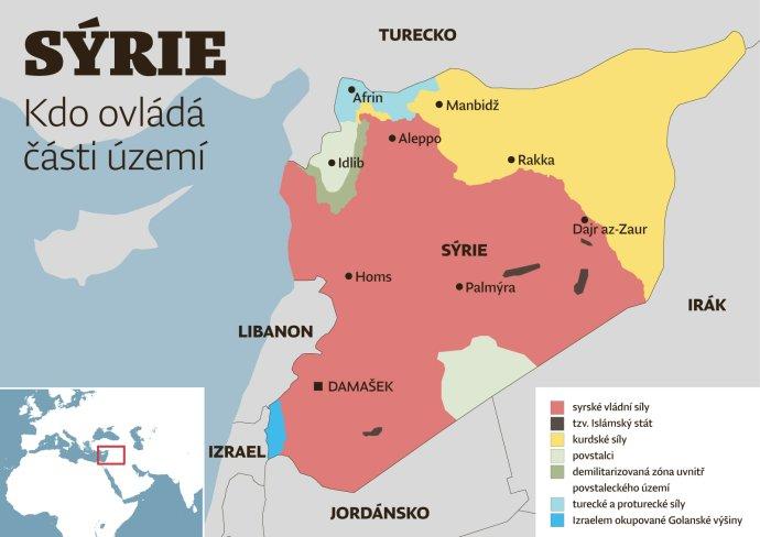 Mapa Sýrie– kdo ovládá jaké území. Únor 2020. Mapa: DeníkN
