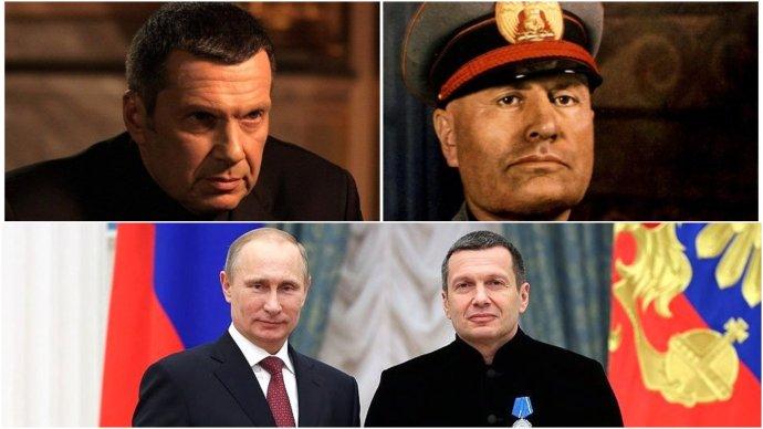 Prominentní prorežimní moderátor Vladimir Solovjev obdivuje dva muže - Mussoliniho a Putina. Zdroj: wikipedia/kremlin.ru