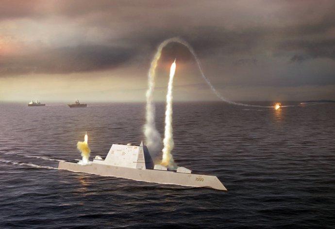 Samonaváděcí střela vypuštěná z amerického torpédoborce třídy Zumwalt. Kresba: U. S. Navy