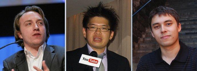 Chad Hurley, Steve Chen aJawed Karim, zakladatelé YouTube. Rozjeli to před patnácti lety. Foto:Wikimedia Commons