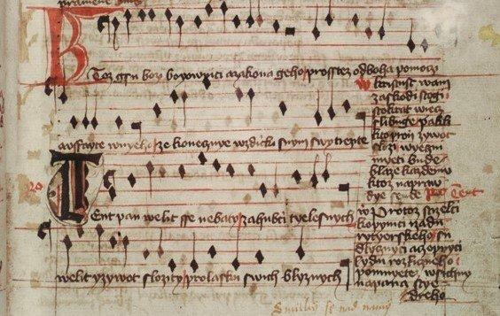 Detail prvního zápisu písně Ktož jsú boží bojovníci v Jistebnickém kancionálu Foto: Národní muzeum