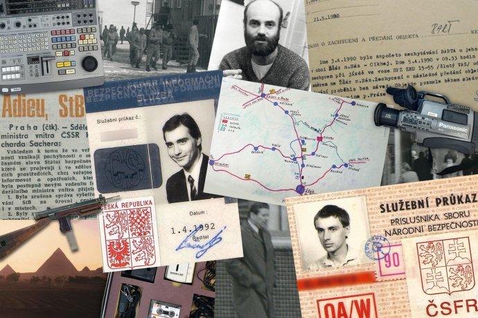Fotografie z knih obou zpravodajských služeb. Foto: Archiv BIS a ÚZSI