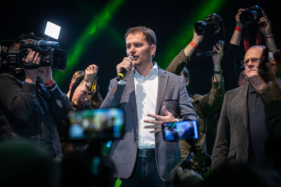 Hnutí OLaNO Igora Matoviče vyhrálo volby s25% hlasů. Jeho opoziční partneři však vnoci bojovali oto, aby vůbec byli vparlamentu. Ne všem se to podařilo. Foto:Tomáš Benedikovič, DenníkN