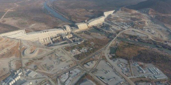 Letecký snímek budované etiopské přehrady na Modrém Nilu Grand Ethiopian Renaissance Dam. Foto:oficiální facebookový účet projektu GrandEthiopianRenaissanceDam